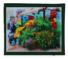 Scene From La Rambla Fleece Blanket