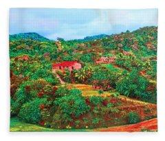 Scene From Mahogony Bay Honduras Fleece Blanket