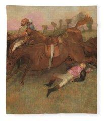 Scene From The Steeplechase The Fallen Jockey Fleece Blanket