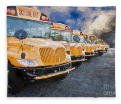 School Bus Lot Painterly Fleece Blanket