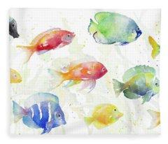 School Of Tropical Fish Fleece Blanket