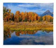 Schwabacher Autumn Reflections Panorama Fleece Blanket