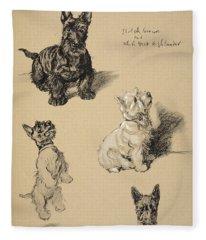 Scotch Terrier And White Westie Fleece Blanket