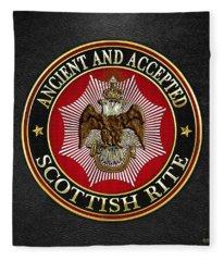 Scottish Rite Double-headed Eagle On Black Leather Fleece Blanket