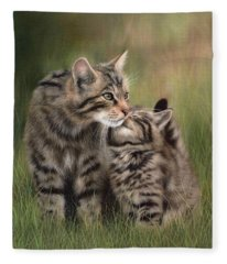Scottish Wildcats Painting - In Support Of The Scottish Wildcat Haven Project Fleece Blanket