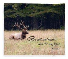 Scripture Photo With Elk Sitting Fleece Blanket