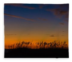 Sea Oats At Twilight Fleece Blanket