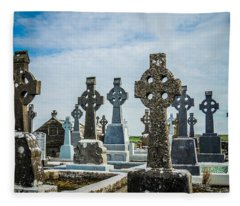 Sea  Of Celtic Crosses Fleece Blanket