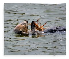 Sea Otter Munching On Crab Leg Fleece Blanket