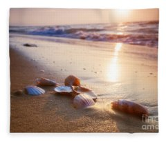 Sea Shells On Sand Fleece Blanket
