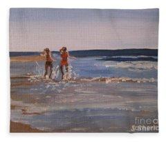 Sea Splashing On The Beach Fleece Blanket
