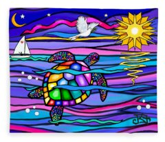 Sea Turle In Blue And Pink Fleece Blanket