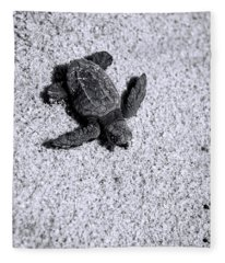 Sea Turtle In Black And White Fleece Blanket