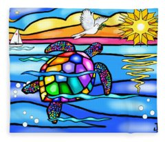 Sea Turtle In Turquoise And Blue Fleece Blanket