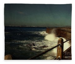 Sea Wall At Night Fleece Blanket