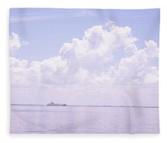 Sea With A Container Ship Fleece Blanket