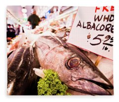 Seafood On Display At Pike Place Market Fleece Blanket