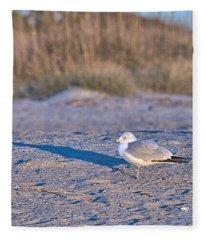 Seagull At Sunrise Fleece Blanket