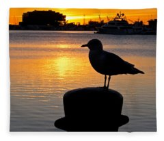 Seagull Silhouette Sunrise Fleece Blanket