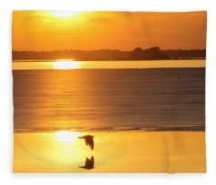 Seagull Through Sunset Fleece Blanket
