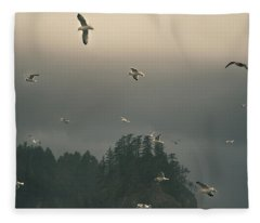 Seagulls In A Storm Fleece Blanket