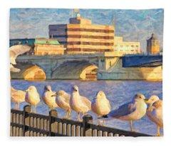 Seagulls On Railing Fleece Blanket
