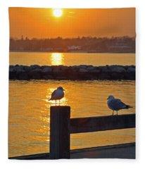 Seaguls At Sunset Fleece Blanket