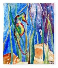 Seahorse And Shells Fleece Blanket