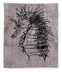 Seahorse On Burlap Fleece Blanket