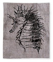 Seahorse On Burlap Fleece Blanket