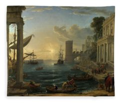 Seaport With The Embarkation Of The Queen Of Sheba Fleece Blanket