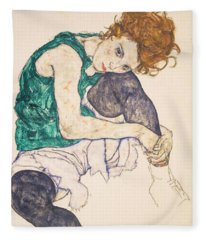 Seated Woman With Legs Drawn Up. Adele Herms Fleece Blanket