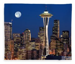 Seattle At Full Moon Fleece Blanket