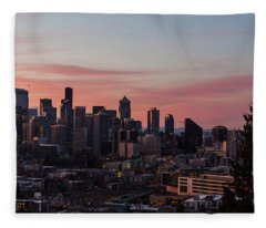 Seattle Cityscape Sunrise Fleece Blanket