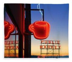 Seattle Coffee Fleece Blanket