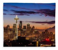 Seattle Fog Sunrise Fleece Blanket
