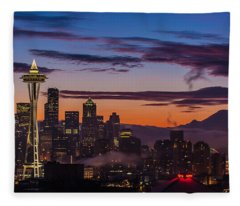 Seattle Fog Sunrise Purples Fleece Blanket
