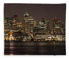 Seattle Lake Union Winter Reflection Fleece Blanket