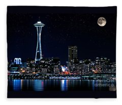 Seattle Skyline At Night With Full Moon Fleece Blanket