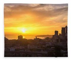 Seattle Skyline Dusk Sun Fleece Blanket