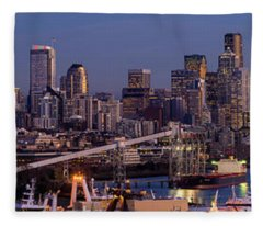 Seattle Skyline From Magnolia At Dusk Fleece Blanket