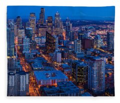 Seattle Skyline From The Space Needle Fleece Blanket