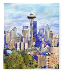 Seattle View In Watercolor Fleece Blanket