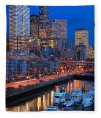 Seattle Waterfront By Night Fleece Blanket