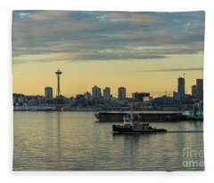 Seattles Working Harbor Fleece Blanket