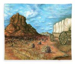 Sedona Arizona - Western Art Painting Fleece Blanket