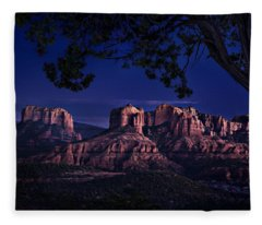 Sedona Cathedral Rock Post Sunset Glow Fleece Blanket