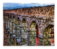 Segovia Aqueduct Spain By Diana Sainz Fleece Blanket
