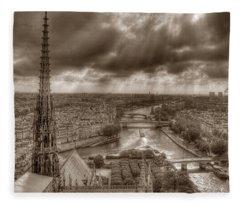 Seine From Notre Dame Fleece Blanket