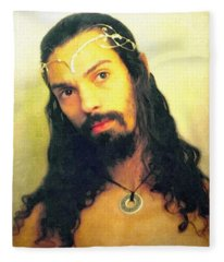 Fleece Blanket featuring the mixed media Self Portrait The Elven King Jesus by Shawn Dall
